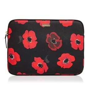 Kate Spade Poppy Print Leather Laptop Zipper Case